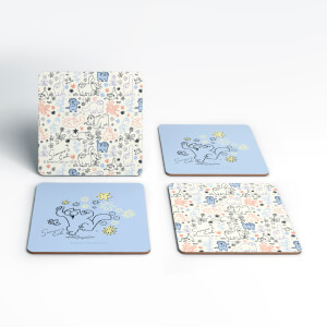 Simons Cat Chasing Butterfly Cork Coaster Set