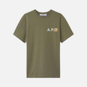 A.P.C. X Carhartt Men's Fire H T-Shirt - Khaki
