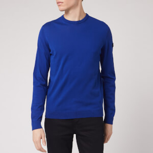 Emporio Armani Men's Sleeve Logo Knitted Jumper - Royal Blue