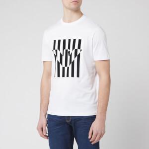 Emporio Armani Men's Stripe Eagle Logo T-Shirt - White