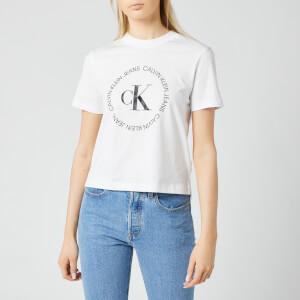 Calvin Klein Jeans Women's CK Round Logo Straight T-Shirt - Bright White
