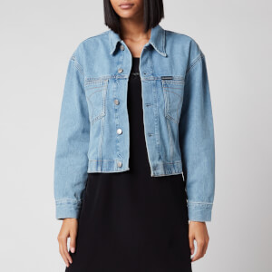 Calvin Klein Jeans Women's Cropped Oversized Trucket Jacket - ICN Light Blue