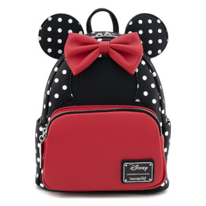 Loungefly Disney Minnie Mouse Blk/Wht Polka Dot Mini Backpack