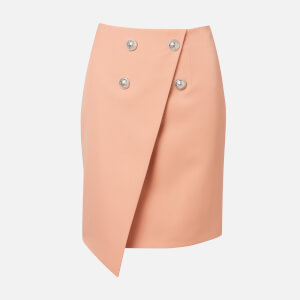 Balmain Women's Asymmetric 4 Button GDP Knee-Length Skirt - Nude