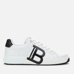 Balmain Men's B-Court Leather Print Trainers - Blanc/Noir