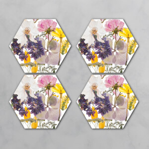 Pressed Flowers Hexagonal Coaster Set