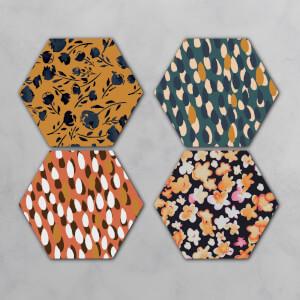 Autumn Patterns Hexagonal Coaster Set