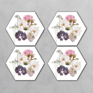 Pink And Purple Pressed Flowers Hexagonal Coaster Set
