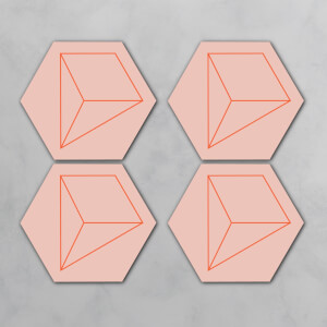 Geometric Lines Hexagonal Coaster Set