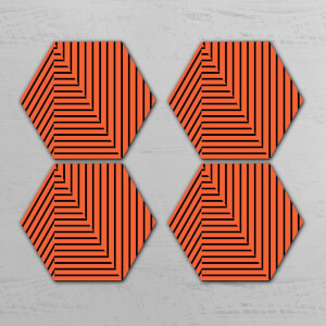 Orange Optical Illusion Hexagonal Coaster Set