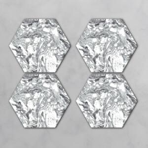 Black And White Marble Hexagonal Coaster Set