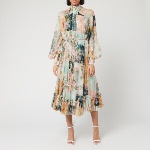 Zimmermann Women's Wavelength Smock Midi Dress - Patchwork Floral