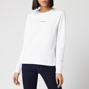 Calvin Klein Women's Regular Small Logo Sweatshirt - White