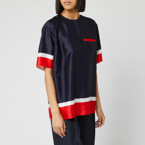 Victoria, Victoria Beckham Women's Short Sleeve Logo Top - Midnight Blue/Red