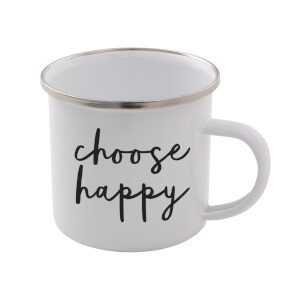 The Motivated Type Choose Happy Enamel Mug