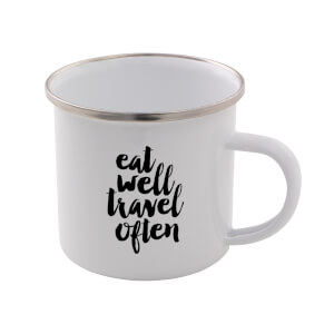 The Motivated Type Eat Well Travel Often Enamel Mug