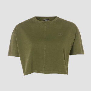 MP Women's Raw Training Cropped T-Shirt - Army Green
