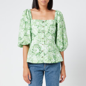 Ganni Women's Printed Cotton Poplin Top - Island Green