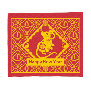 Happy New Year Spiral Rat Fleece Blanket