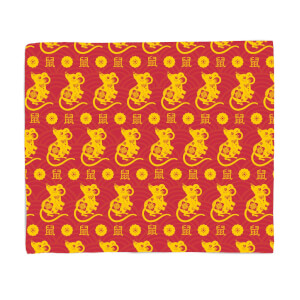 Year Of The Rat Pattern Fleece Blanket