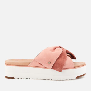 UGG Women's Joanie Suede Bow Flatform Sandals - La Sunset