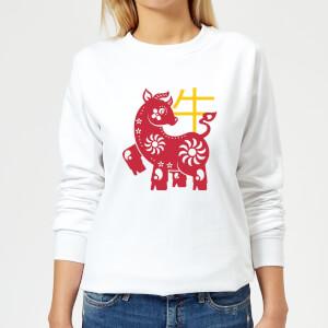 Chinese Zodiac Ox Women's Sweatshirt - White