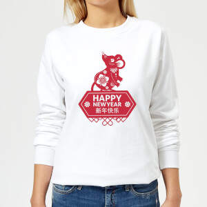 Happy New Year Symbol Red Women's Sweatshirt - White