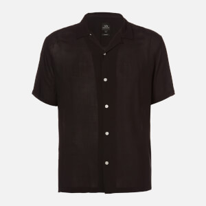 Armani Exchange Men's Pyjama Collar Short Sleeve Shirt - Black