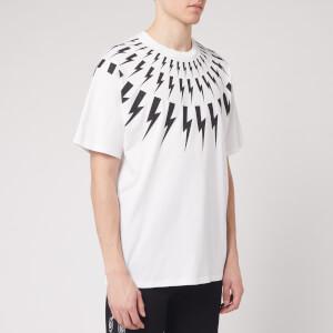 Neil Barrett Men's Fairisle Thunderbolt T-Shirt - White/Black
