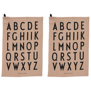 Design Letters Classic Tea Towel - Nude (2 Pack)