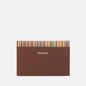 PS Paul Smith Men's Stripe Trim Leather Credit Card Holder - Chocolate