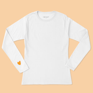 Yellow Valentine Heart On Your Sleeve Unisex Long Sleeved T-Shirt - White