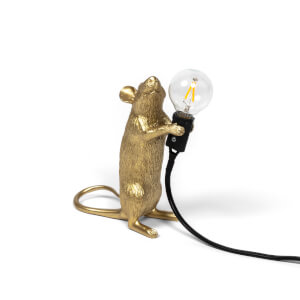 Seletti Standing Mouse Lamp - Gold