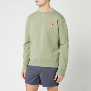 AMI Men's De Coeur Patch Crewneck Sweatshirt - Sage