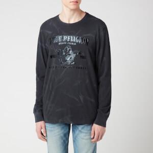 True Religion Men's Seasonal Buddha Crew Neck Long Sleeve T-Shirt - Black