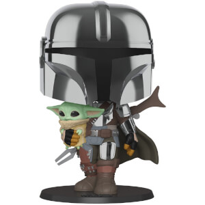 Star Wars The Mandalorian with Chrome Armour Carrying Baby Yoda 10-Inch Funko Pop! Vinyl