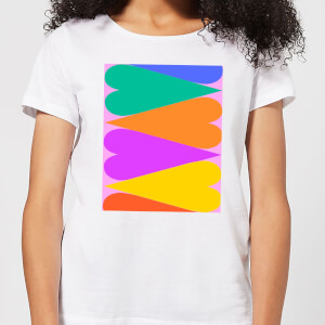 Large Rainbow Hearts Women's T-Shirt - White