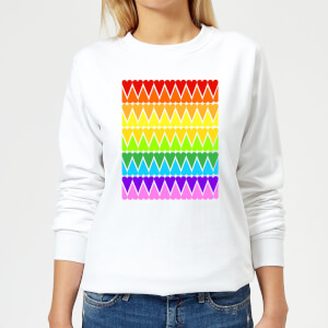 Rainbow Heart Upside Down Women's Sweatshirt - White