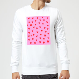 Hand Drawn Red Heart Pattern Sweatshirt - White