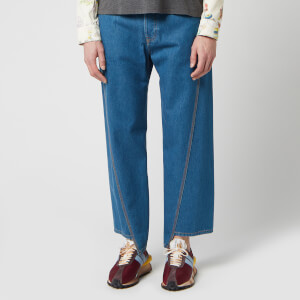 Lanvin Men's Washed Denim Twisted Seam Jeans - Bleu Clair
