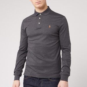 Polo Ralph Lauren Men's Long Sleeve Pima Polo Shirt - Dark Grey Heather