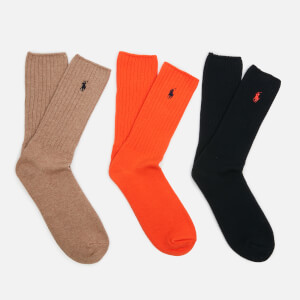 Polo Ralph Lauren Men's 3 Pack Cotton Socks - Orange/Italian Heather/Navy