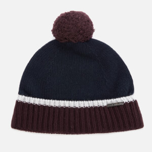 Ted Baker Men's Woolhat Colour Block Knitted Hat - Navy