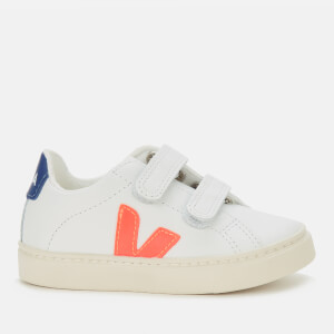 Veja Toddler's Esplar Velcro Leather Trainers - Extra White/Orange Fluo/Cobalt