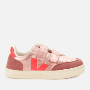Veja Kid's V12 Velcro Leather Trainers - Nacre/Rose Fluo