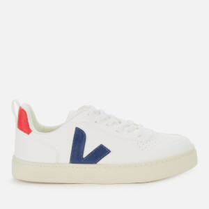 Veja Kid's V10 Lace Leather Trainers - White/Cobalt/Pekin