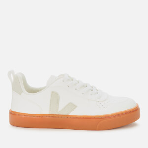 Veja Kid's V10 Lace Leather Trainers - White/natural/Gum Sole