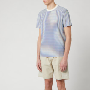 Folk Men's 1 X 1 Stripe T-Shirt - Woad Ecru