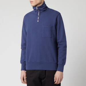 Universal Works Men's Half Zip Sweatshirt - Navy