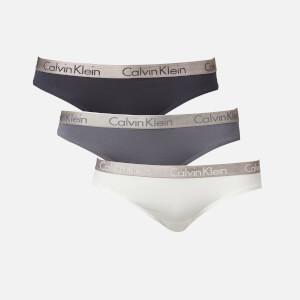 Calvin Klein Women's Bikini Brief 3 Pack - Chrome/Shoreline/White